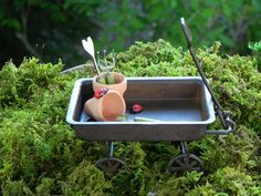 Fairy Garden Wagon miniature clay pots dollhouse by TheLittleHedgerow on Etsy https://www.etsy.com/listing/153475894/fairy-garden-wagon-miniature-clay-pots