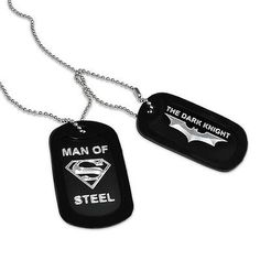 Military Dog Tag Necklace with Superman-Batman Logo -  AN041