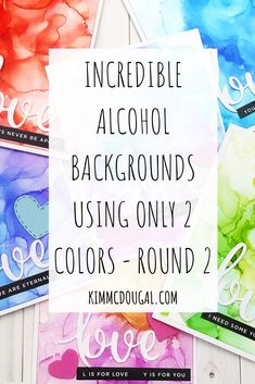 Hey everybody! Here's Round 2 of alcohol backgrounds with only 2 colors per card and this time I used other colors from the 15-pack of new alcohol inks by Tim Holtz. I was after a dreamy effect and trying to mimic watercoloring as well. Check out the new cards on the Blog!