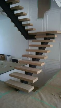 Block white oak staircase , steel stringer