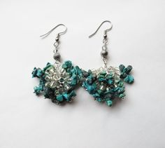 Natural Turquoise Chip and Swarovsky Crystal cluster dangle earrings by GypsyDreamerCafe, $17.00