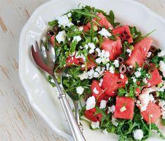 Vandmelonsalat med feta og oliven