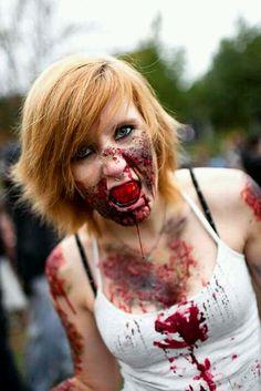 Amazing zombie costume babe