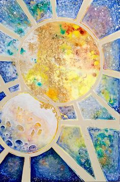 """Sun and Moon abstract mixed media painting. 36"""" x 24"""" gallery depth canvas. Acrylic, gold leaf, glitter, epoxy resin, and powdered pigment on canvas. 2014. Stephen Lursen Art"""