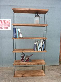 STUNNING INDUSTRIAL HAIRPIN RECLAIMED RUSTIC PINE BOOKCASE SHELVING SHOP DISPLAY in Home, Furniture & DIY, Furniture, Bookcases, Shelving & Storage   eBay