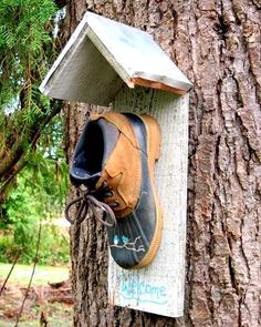 Bird House using an old shoe.....a license plate would be cute for the roof