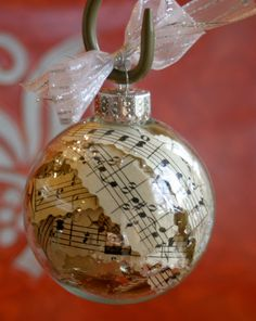 Vintage Sheet Music Glass Ornament I can make myself :) Sheet Music Ornaments, Music Christmas Ornaments, Christmas Tree Themes, Christmas Projects, Glass Ornaments, Holiday Crafts, Christmas Gifts, Christmas Time, Vintage Sheet Music
