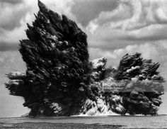 Volcanic explosion from submarine volcano Myojin Sho is observed at Bayonnaise Rocks on the Izu-Ogasawara Arc in the Philippine Sea on September 23, 1952 in Tokyo, Japan. The volcanic eruption once formed a new island, which was destoryed by another explosion.