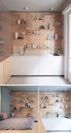 9 Ideas For Using Pegboard And Dowels To Create Open Shelving // The pegboard in this tiny apartment flows from the kitchen to the bed area, providing customizable storage in each space.