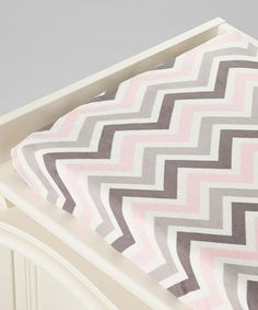 Loving this Pink & Gray Zigzag Universal Changing Pad Cover on #zulily! #zulilyfinds