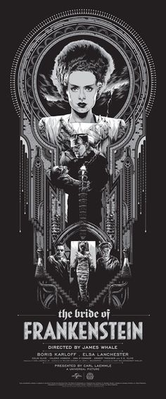 """Cool New Mondo Posters for Classic Universal Monster Movies : """"The Bride of Frankenstein,"""" by Ken Taylor. Cool New Mondo Posters for Classic Universal Monster Movies – Page 3 – Flavorwire Horror Movie Posters, Best Movie Posters, Cinema Posters, Movie Poster Art, Film Posters, Horror Movies, Movie Titles, Rock Posters, Monster Art"""
