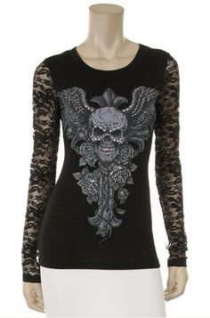 Women's shirt with winged skull and rhinestones is feminine yet biker. Made in the USA. Winged skull design on front and back. Rhinestones throughout the designs to give you some bling. Lace sleeves to give it a feminine touch. Quickly becoming a very popular style! And we have them for WAY LESS than the dealership! Regular and plus sizes. http://www.doubledcycles.com/womens-rhinestone-shirt-with-winged-skull-design-and-lace-sleeves