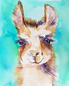 It's a Boy original watercolor painting of llama Llama Arts, Llama Llama, Watercolor Animals, Watercolor Paintings, Watercolours, Body Painting, Animal Paintings, Animal Drawings, Face Paintings