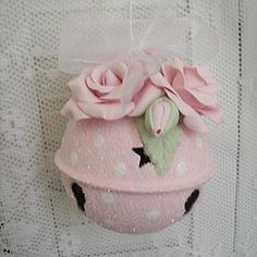 Pink Rose Jingle Bell Ornament - this could be done out of clay