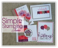 Simple Stamping June class featuring You've Got This, Fabulous Four, Sprinkles of Life, and Build a Birthday including punch art and Big Shot tips