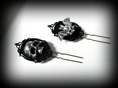 Steampunk hair pin-skull hair clip-hair fork-gothic by presents4u