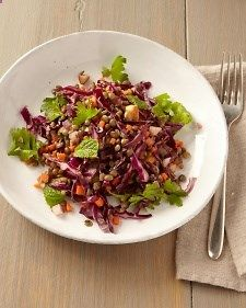 French Lentil Salad - a #salad with toasted almonds and red cabbage. All of these components together in one zesty #salad
