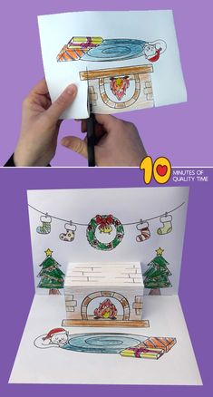 Christmas Fireplace Pop Up Printable Template