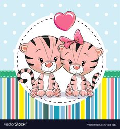 Two cute Cartoon Tigers. Greeting card with Two cute Cartoon Tigers vector illustration Cartoon Tiger, Cute Cartoon, Disney Cartoon Characters, Disney Cartoons, Tiger Vector, Cute Lion, Cat Art, Vector Free, Greeting Cards