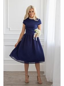 JenClothings Lucy Semi-Formal Modest Dress in Navy Blue - - JenClothings Lucy Semi-Formal Modest Dress in Navy Blue Source by jeraldclintoht Prom Dresses Long Modest, Modest Dresses For Women, Grad Dresses Short, Bridesmaid Dresses With Sleeves, Formal Dresses For Teens, Prom Dresses Blue, Event Dresses, Modest Outfits, Chiffon Dresses