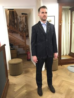 during the forward fitting of his navy suit. The fabric is the iconic Finmeresco travel cloth from Harrison's of Edinburgh. Men's Fashion Brands, Bespoke Tailoring, Private Label, Edinburgh, Suit Jacket, Menswear, Navy, Fabric, Jackets