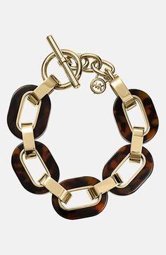 Michael Kors 'Modernist Glitz' tortoiseshell chain link toggle bracelet