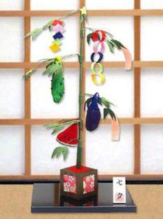 Star festival bamboo tree-chirimen,Kimono fabric
