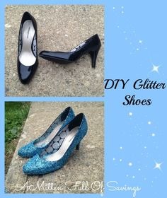 diy Glitter Shoes- great for Halloween or dressing up! #diy #glittershoes #howto