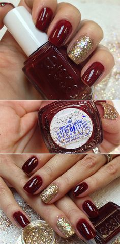 These would be perfect for anything especially christmas! Christmas nails with red and gold.