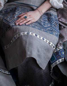 Фартук на подкладке, лен, вышивка русского старинного узора. Linen apron. #grusrussia #russian #tradition #style #русский #стиль #лён