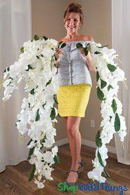 Orchid Floral Spray Mahina Oversized Dangling 52 Natural Look White Orchids Phalaenopsis White Orchids Wedding Decor Elegant Silk Flowers Wedding