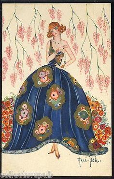 Vintage Signed Art Deco Postcard Fashion Lady VF Free Shipping | eBay