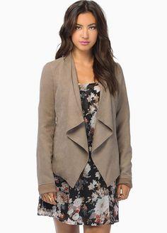Khaki Long Sleeve Draped Front Jacket - Sheinside.com
