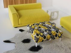 PRD Miniatures Ottoman in Yellow/Gray Teardrop Print