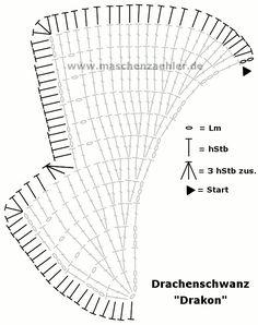 Häkelschrift Umrandung Drachenschwanz