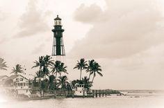 hillsboro lighthouse   Hillsboro Inlet Vintage Lighthouse by Bill Howard
