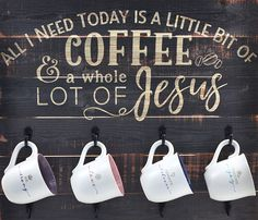 All I need today is a little bit of coffee and a whole lot of Jesus! Alles was ich … Coffee Theme Kitchen, Coffee Room, Coffee Bar Home, Little's Coffee, Coffee Corner, Coffee Signs, Coffee Bars, Coffee House Decor, Coffee Truck