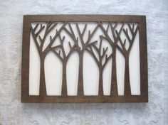 Tree Forest Wood Wall Decor Art by elwoodworks on Etsy, $80.00  **Could easily enlarge the design and make a stellar headboard!!**