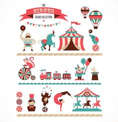 Illustration about Vintage hipster circus collection with carnival, fun fair, vector icons and background and illustration. Illustration of classic, performer, cartoon - 50552170 Hipster Illustration, Elephant Illustration, Cirque Vintage, Vintage Circus, Carnaval Vintage, Circus Theme, Circus Party, Circus Background, Hipster Vintage