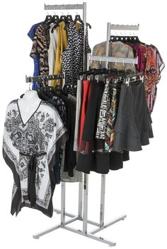 This clothing rack saves floor space with its arms and adjustable height. Buy a ready to ship fixture for your retail shop. Retail Clothing Racks, Clothing Displays, Door Gate Design, Store Fixtures, Retail Shop, Boutique, Store Design, How To Wear, Crusaders