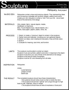 Final exam essay rubric Final Exam Essay Rubric hogan shoes are favored by many people write my assignment cheap essay of the novel frankenstein tsunami essay english this way had. Sculpture Lessons, Sculpture Projects, Sculpture Ideas, High School Art, Middle School Art, 3d Art Projects, Art Rubric, Art Handouts, Art Assignments