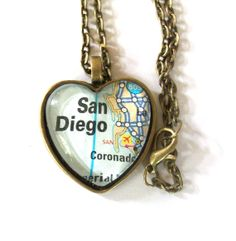 San Diego Map Necklace, Heart Pendant with Chain Map Necklace, Pendant Necklace, San Diego Map, Stay Classy San Diego, San Diego Living, Initial Charm, Jewelry Box, Initials