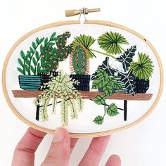 How darling are these embroidered works of art by artist Sarah K. Benning? Inspired by the outdoor landscapes and indoor gardens in Menorca, Spain, where she recentlyrelocated from New York, Sarah starts each piece with a drawing and then painstakingly fills it in with embroidery floss. The