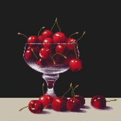 Cross Stitch Pattern Cherries In A Glass – Crossstitchclub Black White Pattern, White Patterns, Color Patterns, Black And White, Cross Stitch Boards, Back Stitch, Unique Photo, Black Fabric, Cross Stitching