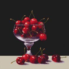 Cross Stitch Pattern Cherries In A Glass – Crossstitchclub Black White Pattern, White Patterns, Color Patterns, Pancake Designs, Cross Stitch Boards, Back Stitch, Unique Photo, Black Fabric, Cross Stitching