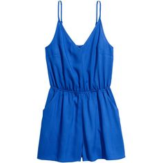 Kort jumpsuit 149 ($15) ❤ liked on Polyvore featuring jumpsuits, h&m, romper, playsuit romper, blue jump suit, playsuit jumpsuit, romper jumpsuit and blue jumpsuit