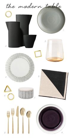 coco kelley modern tabletop picks - love that rose gold flatware!