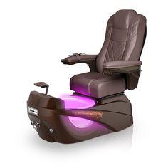 Luminous pedi-spa shown in Walnut Ultraleather cushion, Mocha base, Aurora LED Color-Changing bowl (shown in purple)