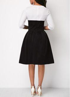 Half Sleeve Color Block Button Detail Dress | Rosewe.com - USD $34.47