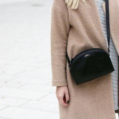 tifmys - Forever 21 coat, Asos striped dress & A.P.C. Half-moon bag.